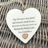 Shabby personalised Gift Chic Heart Plaque Special Nanny ~ Nana Or ANY NAME Gift - 233008503315